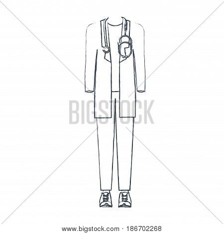 monochrome blurred silhouette of male doctor clothing vector illustration