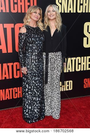 LOS ANGELES - MAY 10:  Goldie Hawn and Kate Hudson arrives for the 'Snatched' World Premiere on May 10, 2017 in Westwood, CA