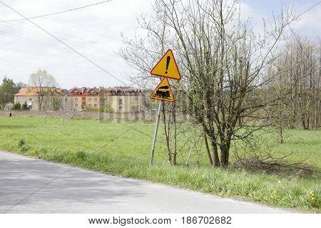 Locomotive warning yellow triangle traffic sign.