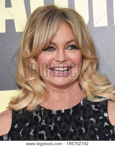 LOS ANGELES - MAY 10:  Goldie Hawn arrives for the 'Snatched' World Premiere on May 10, 2017 in Westwood, CA