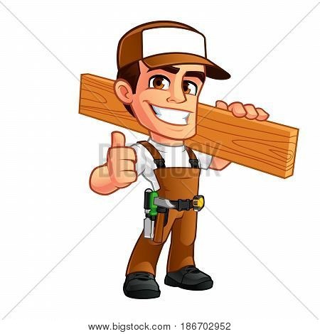 Friendly carpenter, he is dressed in work clothes