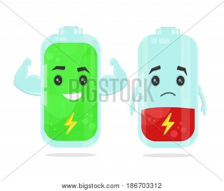 Full and low battery character. vector flat cartoon illustration icon design. Isolated on white background. Energy power concept