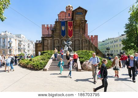 Tourists Near Of Golden Gates Of Kiev In Spring