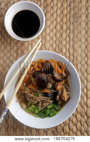 Japanese shiitake, soba, and tofu soup