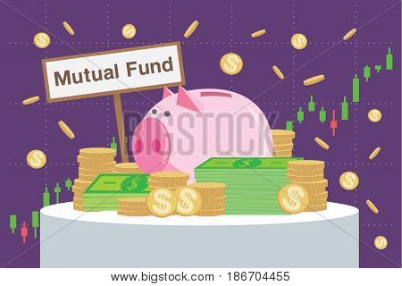 Wooden sign writing Mutual funds back many money and piggy bank on price chart background.