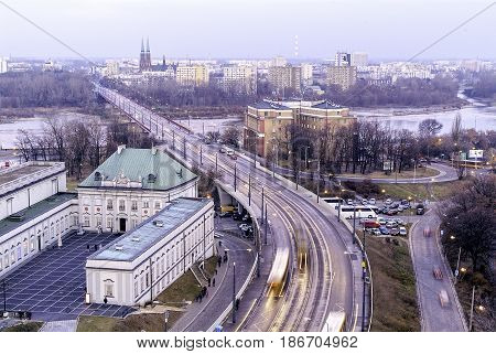 City of Warsaw cityscape, an unusual view