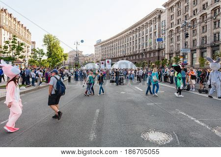 People On Khreshchatyk Street On Pedestrian Zone