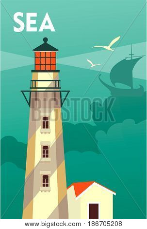 Vector illustration of an ocean lighthouse on a foen cloud and steering wheel on a vintage poster sea