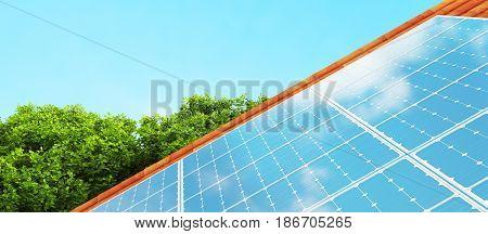 Solar panels on the roof, 3d render illustration