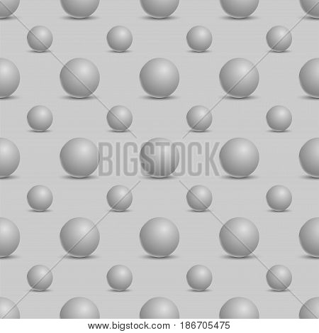 Seamless abstract background with 3d balls. Spheric pattern. Vector illustration.