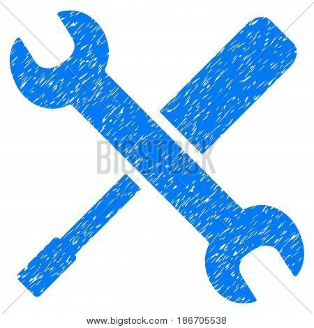 Grunge Tools icon with grunge design and dust texture. Unclean vector blue pictogram for rubber seal stamp imitations and watermarks. Draft emblem symbol.