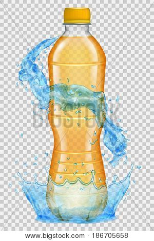 Transparent water crown and splashes in light blue colors around a plastic bottle with orange cap filled with juice. Transparency only in vector file