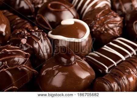 Chocolate candy close-up isolated snack milk chocolate bonbon