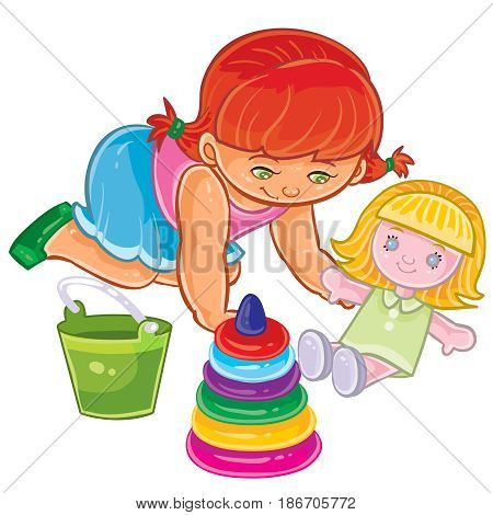 Vector illustration of young girl sitting on the floor and play with doll. Print, template, design element