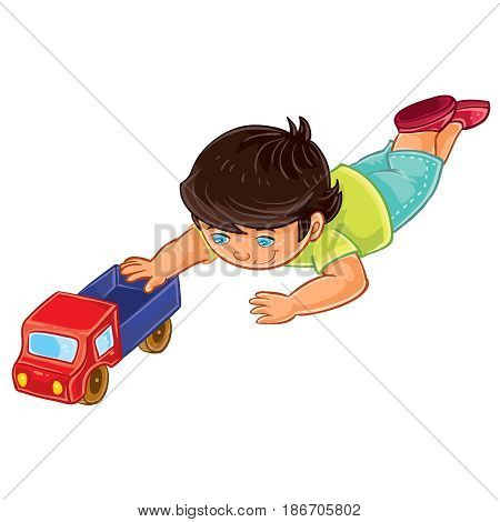 Vector clip art illustration of a little boy lies on his stomach and rolls a truck. Print, template, design element