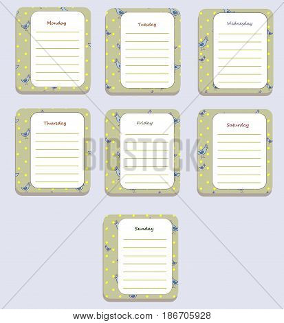 The sheets of the planner for weekly planning in sweet cartoon birds with the names of the days of the week. Diary.Vector illustration.
