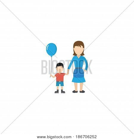 Flat Woman Element. Vector Illustration Of Flat Son Isolated On Clean Background. Can Be Used As Woman, Son And Balloon Symbols.