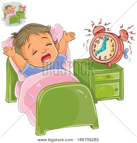Vector illustration of a little child woke up in the morning from ringing the alarm clock and stretches in bed. Print, template, design element