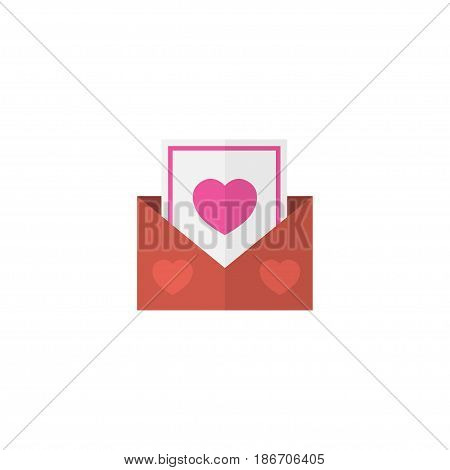 Flat Postcard Element. Vector Illustration Of Flat Envelope Isolated On Clean Background. Can Be Used As Postcard, Envelope And Heart Symbols.