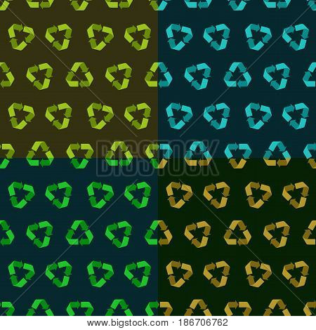Set of four Seamless vector flat recycle backgrounds. Seamless patterns for eco design, dark versions. Recycle pattern for packaging, web sites background