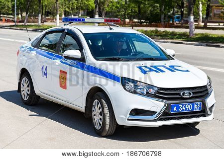 Samara Russia - May 13 2017: Russian police patrol car of the State Automobile Inspectorate parked on the city street in summer day
