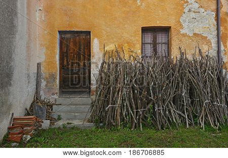 A disused house in the small hill village of Oborza in Friuli Venezia Giulia north east Italy