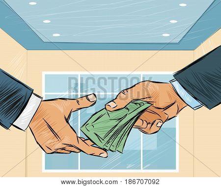 Vector illustration of a businessman giving money