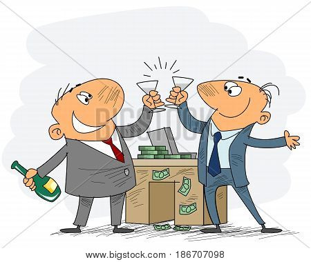 Vector illustration of a two businessmen celebrate deal