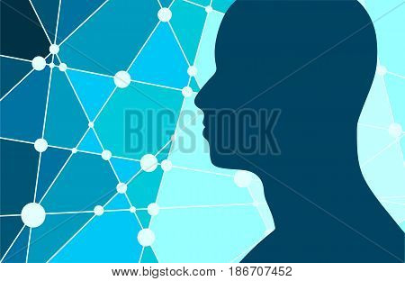 Silhouette of a man's head. Mental health  Scientific medical designs. Connected lines with dots. Vector illustration