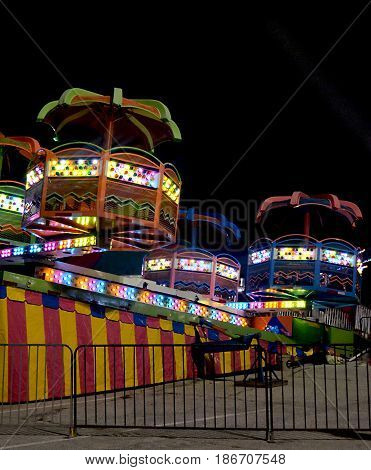 Colorful Carnival Ride At An Amusement Park