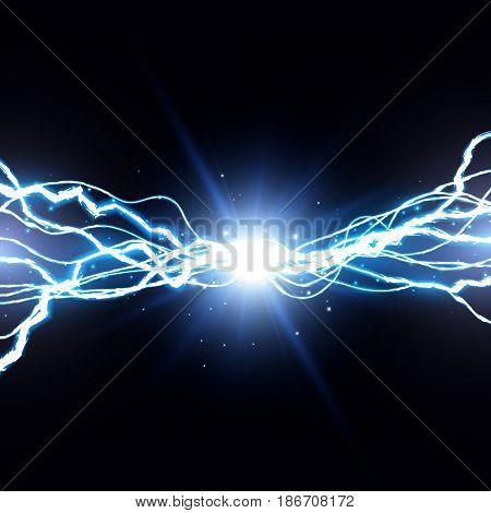 Electric lightning bolt, Energy effect illustration EPS10