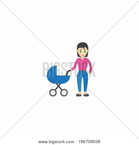 Flat Perambulator Element. Vector Illustration Of Flat Stroller Isolated On Clean Background. Can Be Used As Stroller, Baby And Mother Symbols.