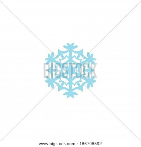 Flat Snowflake Element. Vector Illustration Of Flat Winter Snow Isolated On Clean Background. Can Be Used As Snowflake, Winter And Snow Symbols.