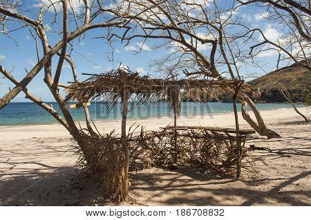 Grass hut kiosk ready for business on the beach