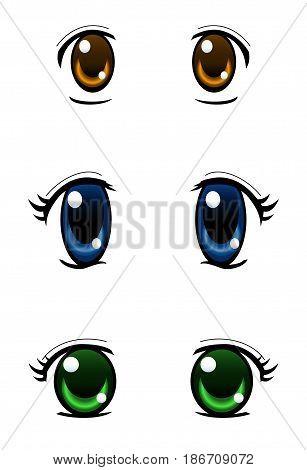 Set of anime style eyes isolated on white background radial gradient used