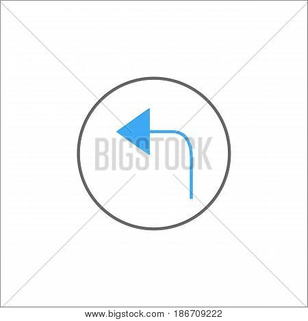 Arrow back solid icon, mobile sign and only left pictogram, vector graphics, a colorful linear pattern on a white background, eps 10.