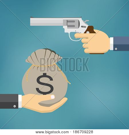 Robbery concept. Hand holding pistol and another hand giving or offering money. Flat design