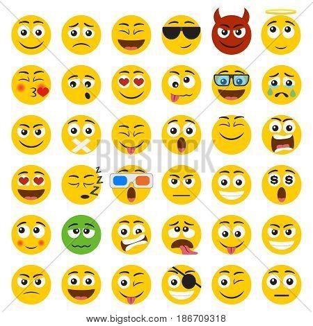 Set of Emoticons. Set of Emoji. Smile icons isolated on the white background