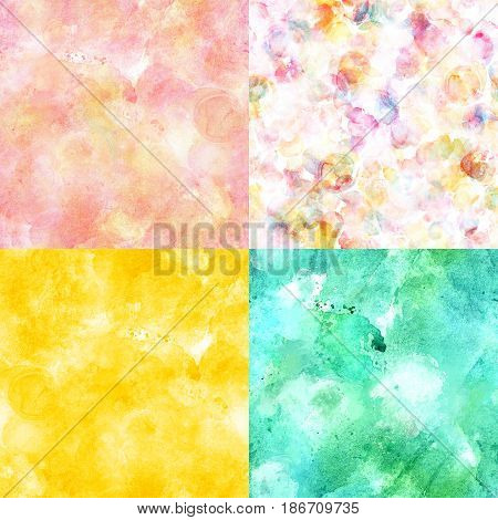 A set of seamless artistic background textures in pink, golden yellow, and teal blue. A collection of festive frames for birthday cards or wedding invitations