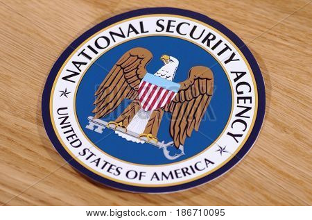 SARANSK, RUSSIA - MAY 11, 2017: Seal of the National Security Agency.