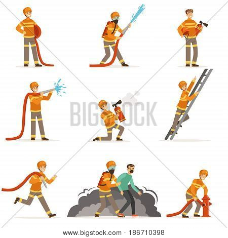 Firemen characters doing their job and saving people set. Firefighter in different situations cartoon vector Illustrations isolated on white background