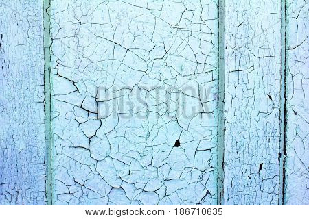 Old Wooden Background. Old Plaques Of Blue Color.