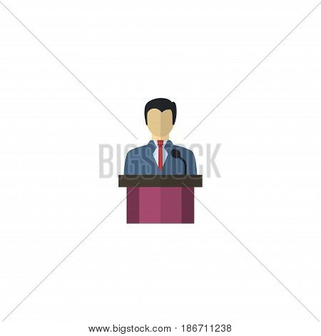 Flat Leader Element. Vector Illustration Of Flat Businessman  Isolated On Clean Background. Can Be Used As Businessman, Company And Leader Symbols.