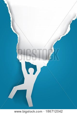 Ripped paper - original poster template. Paper silhouette of man ripping blue paper background with place for your text or image. Vector available.