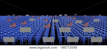 Crowd of people with signs and American flags 3d illustration