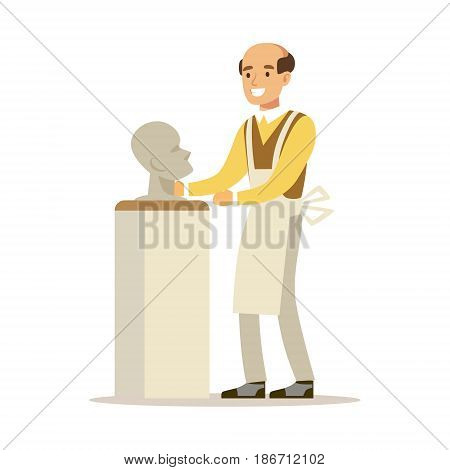 Artist making a sculpture of human head. Craft hobby and profession colorful character vector Illustration isolated on a white background