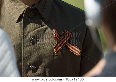 St. George Ribbon on Russian military shirt-tunic.