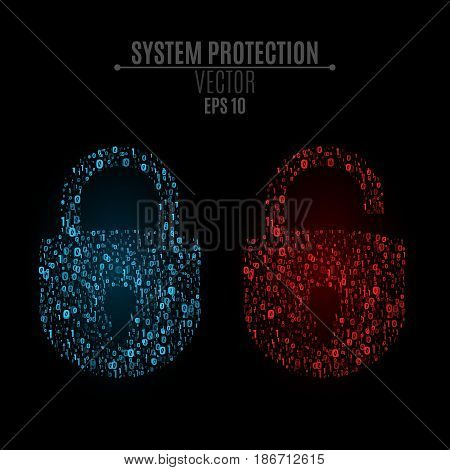 Luminous locks of blue and red colors from binary code. High technology in design. The system is under reliable protection. Bright glow. Vector illustration. EPS 10