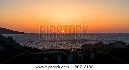 Sunset on the sea. Agia Pelagia in Crete.