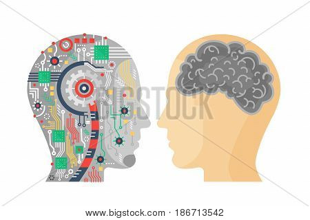 Vector illustration of machinery head of cyborg and the human one with the brain